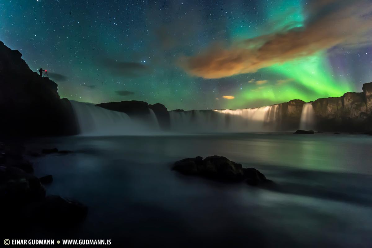Godafoss waterfall aurora
