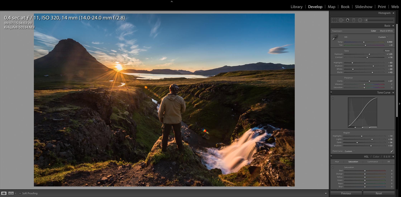 Screenshot from Lightroom after basic adjustments of the same frame.